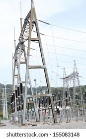 230 kV gantry or take - off structure in substation.