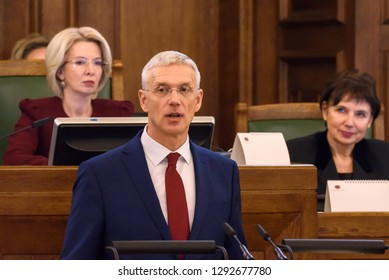 23.01.2019. RIGA, LATVIA.  Arturs Krisjanis Karins, candidate for Prime Minister of Latvia during voting of new coalition of government of Latvia. Parliament of Latvia (Saeima).