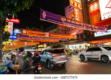 23.02.2018. Chinatown in Bangkok - hub of Chinese culture, Thailand at the evening.  Yaowarat Road. Celebrating the New Year in the Chinese calendar. Tourists from all over the world on the streets.