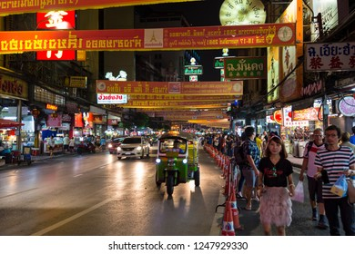 23.02.2018. Chinatown in Bangkok - hub of Chinese culture, Thailand at the hight. Celebrating the New Year in the Chinese calendar. Tourists from all over the world on the streets.