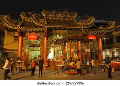 23.02.2018. Chinatown in Bangkok - hub of Chinese culture, Thailand at the hight. Ancient temple. Tourists from all over the world on the streets. Famous tourist destination, tourist attraction