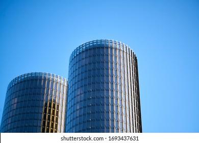23-03-2020. Riga, LAtvia. A skyscraper against a blue sky with clouds.