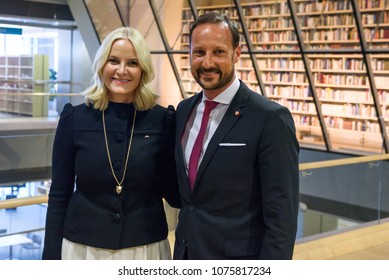 23.04.2018. RIGA, LATVIA. Crown Prince Haakon , Crown Princess Mette-Marit of the Kingdom of Norway  at press conference in National Library of Latvia.