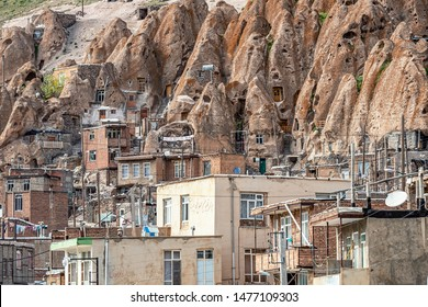 23/05/2019 close up view on yard of traditional Iranian ancient cave village of troglodyte in Kandovan in East Azerbaijan Province. Iran. near Tabriz city. looks like village in Turkey