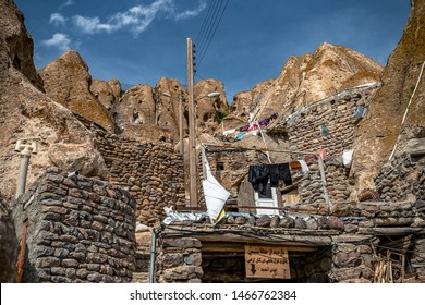 23/05/2019 Iran. Kandovan, close up view on courtyard and interior of traditional Iranian ancient cave village of troglodyte in Kandovan in East Azerbaijan Province. Iran.
