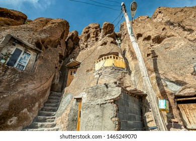 23/05/2019 Kandovan, Iran, close up view on courtyard and interior of traditional Iranian ancient cave village of troglodyte in Kandovan in East Azerbaijan Province. Iran.