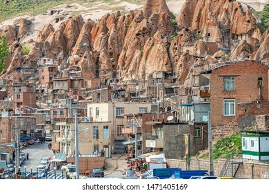 23/05/2019 Kandovan, Iran, view on street of traditional Iranian  village of troglodyte in Kandovan in East Azerbaijan Province. Iran. near Tabriz city. looks like village in Turkey