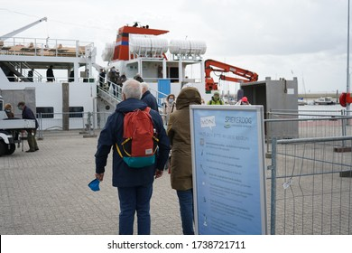 23/05/2020 Spiekeroog People are waiting to board the Spiekeroog ferry after the North Seas island has been closed for two month due to the covid-19 pandemic.