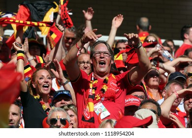 23.06.2018. Moscow, Russian:BELGIUM FANS CELEBRATES VICTORY  IN the Fifa World Cup Russia 2018, Group C, football match between BELGIUM V TUNISIA  in SPARTAK STADIUM in Moscow Stadium