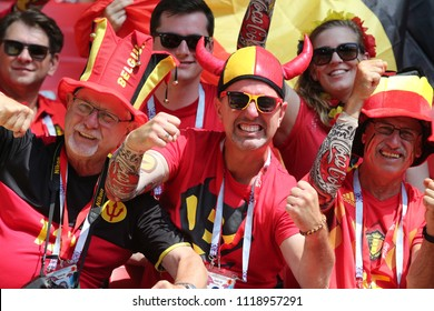 23.06.2018. Moscow, Russian:Belgium fans on the stands  in  the Fifa World Cup Russia 2018, Group C, football match between BELGIUM V TUNISIA  in SPARTAK STADIUM in Moscow Stadium