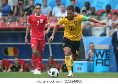 23.06.2018. Moscow, Russian:Eden Hazard  in action during the Fifa World Cup Russia 2018, Group C, football match between BELGIUM V TUNISIA  in SPARTAK STADIUM in Moscow Stadium