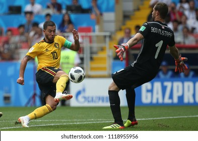23.06.2018. Moscow, Russian:Eden Hazard SCORE THE GOL AND CELEBRATES  in the Fifa World Cup Russia 2018, Group C, football match between BELGIUM V TUNISIA  in SPARTAK STADIUM in Moscow Stadium