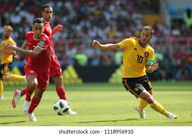 23.06.2018. Moscow, Russian:SAIF EDDINE KHAOUI, Eden Hazard  in action during the Fifa World Cup Russia 2018, Group C, football match between BELGIUM V TUNISIA  in SPARTAK STADIUM in Moscow Stadium