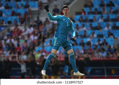 23.06.2018. Moscow, Russian:THIABAUT COURTOIS celebrates the gol  in the Fifa World Cup Russia 2018, Group C, football match between BELGIUM V TUNISIA  in SPARTAK STADIUM in Moscow Stadium