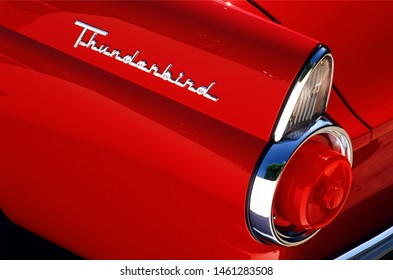 23.7.2019 Istanbul / Turkey Red color ford thunderbird 1955