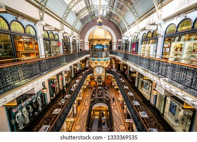 23rd December 2018, Sydney NSW Australia : Interior view of Queen Victoria Building or QVB shoppping arcade in Sydney NSW Australia