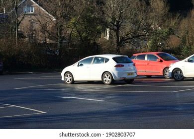 23rd January 2021- A stylish Seat Leon S Emocion Tdi, five door hatchback car, parked in the public carpark at Amroth, Pembrokeshire, Wales, UK.