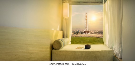 23rd of march Celebration Day Minar e Pakistan with room view cap and paper