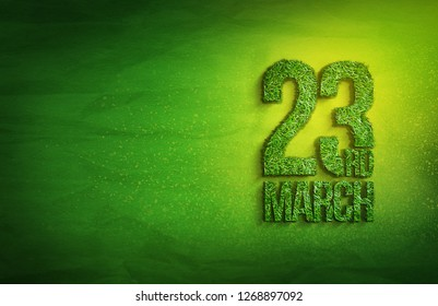 23rd of march Pakistan Day Celebration grass effect with green background
