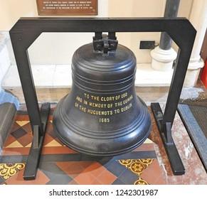 23rd November 2018, Dublin, Ireland. . Huguenot Bell, St Patrick's Cathedral, Dublin