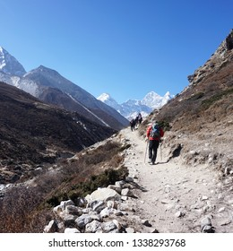 24 April 2018, Khumbu Region, Nepal : A Group of tourist hike to the everest base camp. Everest Base Camp is one of the popular route for tourist all around the world