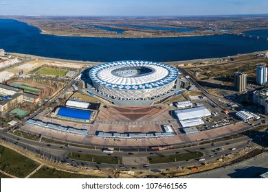 "24 April 2018, Volgograd, Russia. Aerial view of the new football stadium ""Volgograd Arena"" built for the FIFA World Cup 2018"