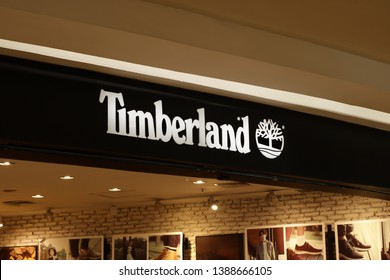 24 April 2019, Medan City, Indonesia-Timberland LLC is an American manufacturer and retailer of outdoors wear, with a focus on footwear. It is owned by VF Corporation