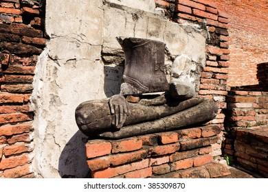 24 August 2015 :Ayutthaya,Thailand.Statue of Buddha at Wat Mahathat