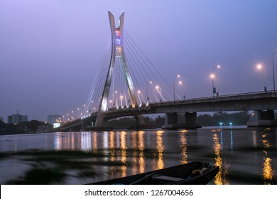 24 DECEMBER 2018, LAGOS NIGERIA:  The bridge links the Phase 1 area, of Lekki with Ikoyi district of Lagos. Its a 1.36 km cable-stayed bridge.