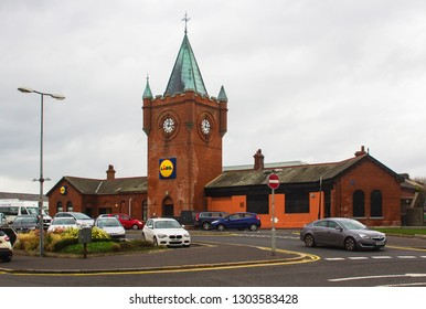 24 December 2018 The old Victorian Belfast and County Down Railway Station, BCDR  building now used as a LIDL supermarket and general store in Newcastle County Down Northern Ireland