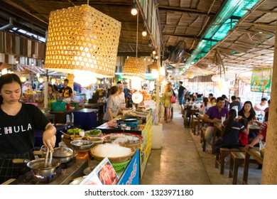 24 February 2019 The atmosphere under the thatched roof of Khlong Lad Mayom Market, Bang Ramat Subdistrict, Taling Chan District, Bangkok, Thailand.