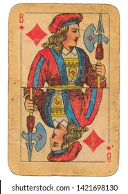 24 February 2019 - Jack of Diamonds old grunge old russian and soviet style playing card
