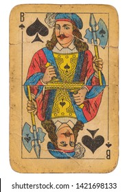 24 February 2019 - Jack of Spades old grunge old russian and soviet style playing card
