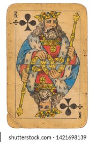 24 February 2019 - King of Clubs old grunge old russian and soviet style playing card
