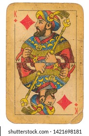 24 February 2019 - King of Diamonds old grunge old russian and soviet style playing card