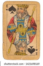24 February 2019 - King of Spades old grunge old russian and soviet style playing card