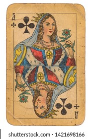 24 February 2019 - Queen of Clubs old grunge old russian and soviet style playing card