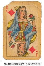24 February 2019 - Queen of Diamonds old grunge old russian and soviet style playing card