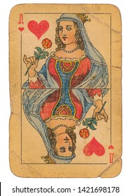 24 February 2019 - Queen of Hearts old grunge old russian and soviet style playing card