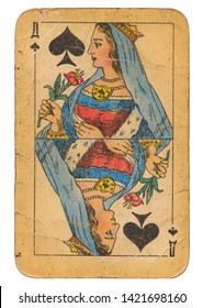24 February 2019 - Queen of Spades old grunge old russian and soviet style playing card