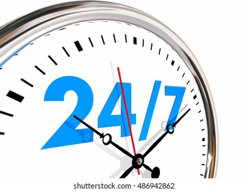 24 Hours 7 Days Week Numbers Clock 3d Illustration