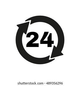 The 24 hours icon. Twenty-four hours open symbol. Flat  illustration