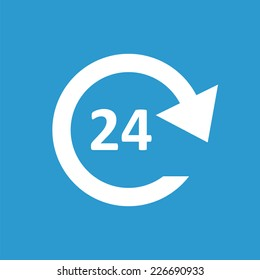 24 hours service icon, isolated, white on the blue background. Exclusive Symbols
