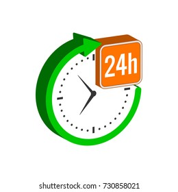 24 hours service symbol. Flat Isometric Icon or Logo. 3D Style Pictogram for Web Design, UI, Mobile App, Infographic.