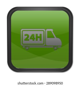 24 hours square icon on white background