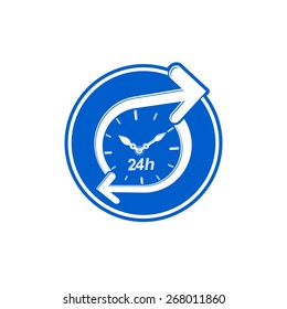 24 hours-a-day concept, clock face with a dial and an arrow around. Day-and-night interface icon, for use in web design.