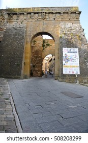 24 july 2014-Montepulciano-italy-Entrance to the historic town of Montepulciano in the Tuscan countryside