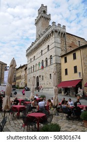 24 july 2014-Montepulciano-italy-The main square in the historic town of Montepulciano in the Tuscan countryside