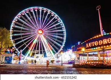 24 MARCH 2017, PRATER PARK, VIENNA, AUSTRIA: Lighting Ferris wheel at night in famous Prater theme amusement Park, Vienna