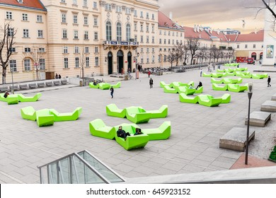 24 MARCH 2017, VIENNA, AUSTRIA: The square of the museum quartier in Vienna with green bench